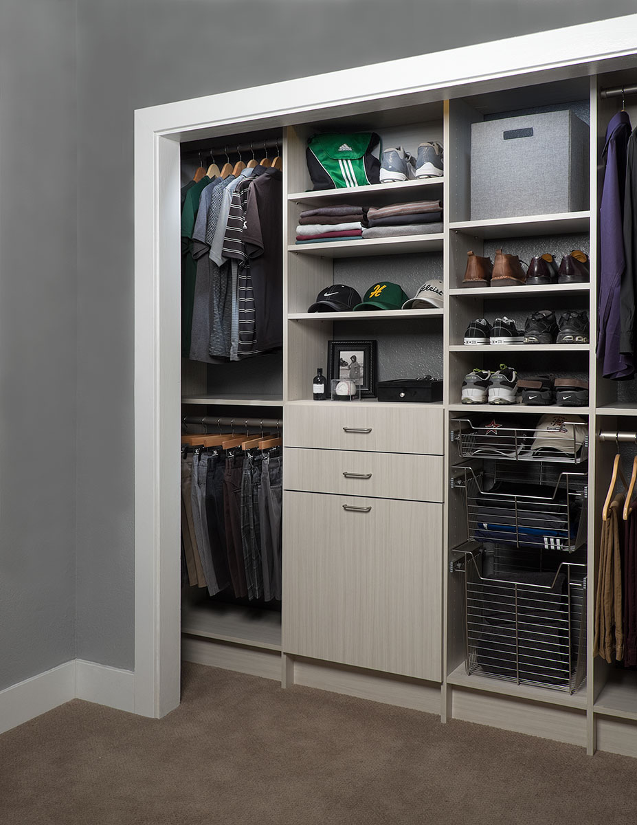 Reach in closet design closet organization installation - Small space closet solutions pict ...