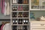 Slanted Contour Edge Shoe Shelves in Premier Antique White Closet
